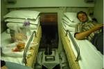sleeping inside a unique train