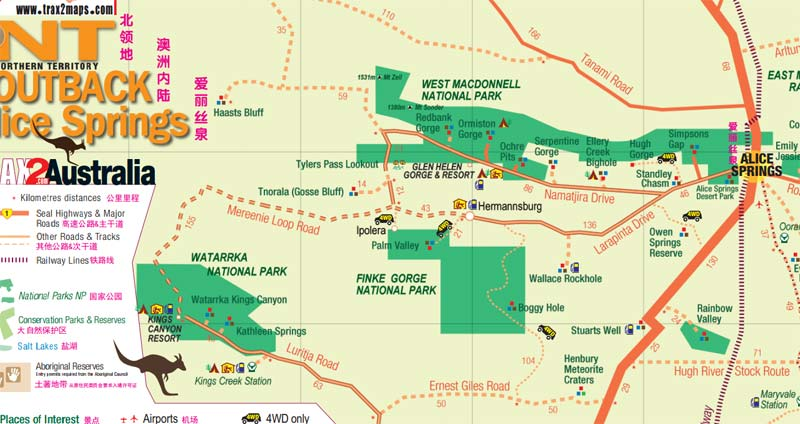 red centre way drining map