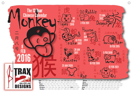 A4 Year of the Monkey poster