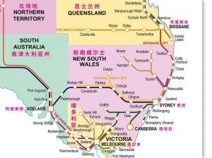 Detail of train routes and stations Australia train system